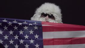 Santa Claus with USA flag standing against black background. The concept of christmas or Independence Day USA stock video