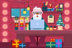 Santa Claus using a laptop.Christmas Greeting Card Design. Work space interior.Flat vector illustration Stock Photography