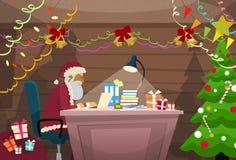 Santa Claus Using Laptop Sitting Desk Indoor Home Stock Photos