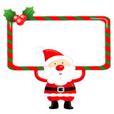 Santa Claus using a variety of banner designs Stock Images