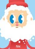 Santa Claus vänder mot närbild Hälsningkort för jul och nytt vektor illustrationer