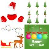 Santa Claus vêtx, arbre de Noël, la guirlande de Noël, traîneau avec des cerfs communs de Santa Claus Ensemble du ` s de nouvelle Photographie stock libre de droits