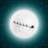Santa Claus va al reno del trineo en el fondo de la luna stock de ilustración