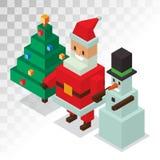 Santa Claus, vecteur 3d isométrique d'icônes de bonhomme de neige Image libre de droits
