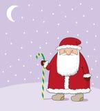 Santa Claus. Vector. Santa Claus with a stick, snow, moon Royalty Free Stock Photo