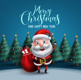 Santa claus vector character carrying bag of christmas gifts with merry christmas text greeting vector illustration