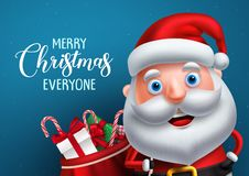 Santa claus vector character and merry christmas greeting in a blue background banner. Santa claus carrying bag of gifts while talking. Vector illustration vector illustration