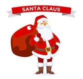Santa Claus vector illustration. Cartoot old man. Santa Claus vector illustration. Santa Claus cartoot old man with red hat and sack. Santa Claus traditional Royalty Free Stock Image