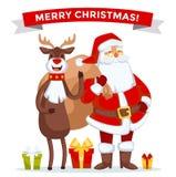 Santa Claus vector illustration. Cartoot old man. Santa Claus vector illustration. Santa Claus cartoot old man with red hat and sack. Santa Claus traditional Royalty Free Stock Photo