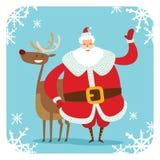 Santa Claus vector illustration. Cartoot old man. Santa Claus vector illustration. Santa Claus cartoot old man with red hat and sack. Santa Claus traditional Stock Image