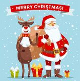 Santa Claus vector illustration.. Santa Claus old man with red hat and sack. Santa Claus traditional costume. Santa Claus  on background. Santa Claus stay Stock Photos