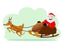 Santa Claus. Vector illustration of Santa Claus riding snow sledge Royalty Free Stock Photos
