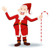 Santa Claus. Vector illustration of Santa Claus with walking stick Stock Photos