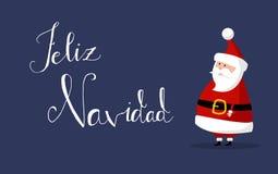 Santa Claus Vector med ` för glad jul för ` önskar som `-Feliz Navidad ` i spanskt språk på rätten arkivbilder