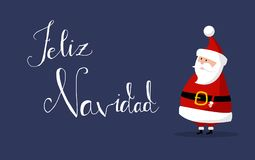 Santa Claus Vector mit ` frohe Weihnachten ` wünscht als ` Feliz Navidad-` in der spanischen Sprache auf dem Recht stockbilder