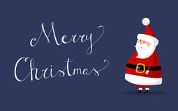Santa Claus Vector mit ` frohe Weihnachten ` wünscht auf dem Recht lizenzfreie stockfotos