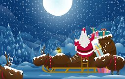 Santa claus vector on snow back ground. Santa claus with Reindeer in christmas day.Christmas vintage card and happy new year Royalty Free Stock Image