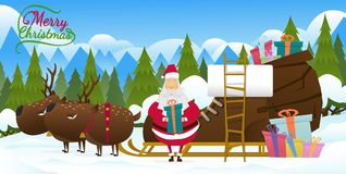 Santa claus vector on snow back ground. Santa claus with Reindeer in christmas day.Christmas vintage card and happy new year Royalty Free Stock Photos