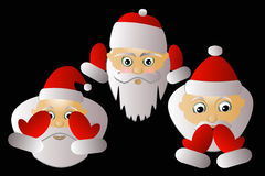 Santa Claus vector three together on a black background. Santa Klausy cheerful vector three together on a black background Royalty Free Stock Photos