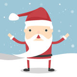 Santa Claus. Vector Santa Claus wave. Vector illustration for retro christmas card. Snow landscape background. Happy Santa. Santa Claus with presents vector illustration