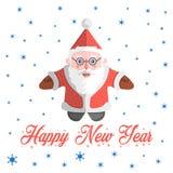 Santa Claus vektor med lyckligt nytt år för text Royaltyfria Bilder