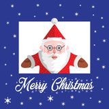 Santa Claus-Vektor mit Text frohen Weihnachten Stockbild