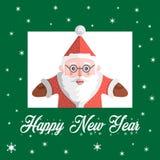 Santa Claus-Vektor mit Text guten Rutsch ins Neue Jahr Lizenzfreies Stockbild
