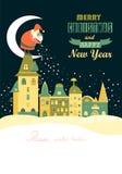 Santa Claus verbreitet Schneeflocken in der Nacht Stockbild