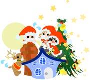 Santa Claus verteilt Weihnachtsgeschenke. Lizenzfreie Stockfotos