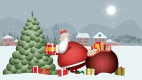 Santa Claus is very busy. Look at him as he takes the gifts out of his red sack and places them on the tree of this beautiful snow vector illustration