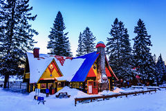 Santa Claus` Village, Val-David, Quebec, Canada - January 1, 2017: Big house in Santa Claus village Royalty Free Stock Images