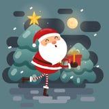 Santa Claus vinkar med en säck av gåvor stock illustrationer