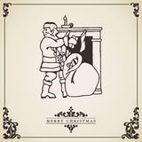 Santa Claus vintage Christmas card. Vector. Santa Claus vintage christmas card vector.  Santa Claus bringing gifts at fireplace illustration  on decorative Royalty Free Stock Photography