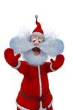 Santa Claus visar sinnesrörelserna av skrämsel Arkivfoto