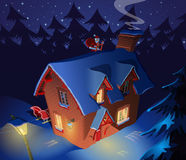 Santa Claus visit lonely forest house for Christmas eve. Illustration Royalty Free Stock Photo