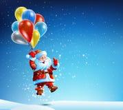 Santa Claus vola su un pallone Immagini Stock Libere da Diritti
