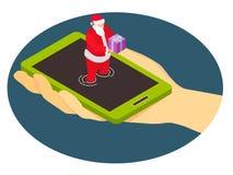Santa Claus von einem Smartphone gibt ein Geschenk vektor abbildung