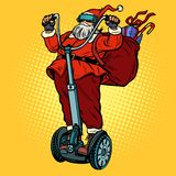 Santa Claus in VR-glazen, met Kerstmisgiften berijdt een electri royalty-vrije illustratie