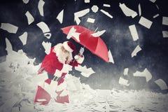 Santa Claus vs bedda bokstavsgåvor framförande 3d Royaltyfria Foton