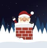 santa Claus w komin odizolowywającym ikona projekcie Fotografia Royalty Free