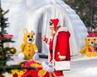 Santa Claus walk in the park Royalty Free Stock Photos