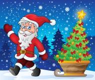 Santa Claus walk theme 2. Eps10 vector illustration Stock Photos
