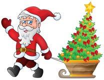 Santa Claus walk theme 5. Eps10 vector illustration Royalty Free Stock Photos