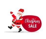 Santa Claus Walking com o saco dos presentes ilustração stock