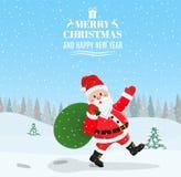 Santa Claus Walking com o saco dos presentes ilustração royalty free
