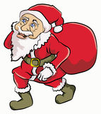 Santa claus walking. Santa claus with cute face walking alone Stock Photo