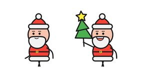 Santa Claus walking and holding Christmas tree. Alpha channel stock footage