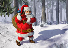 Santa Claus walking on snow, trees being at the background. Stock Image