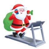 Santa Claus Walking On A Treadmill Royalty Free Stock Image