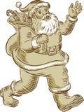 Santa Claus Walking Waving Etching Photos libres de droits